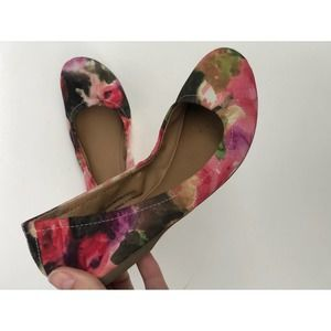 Mossimo Watercolor Floral Ballet Flats Pink Black